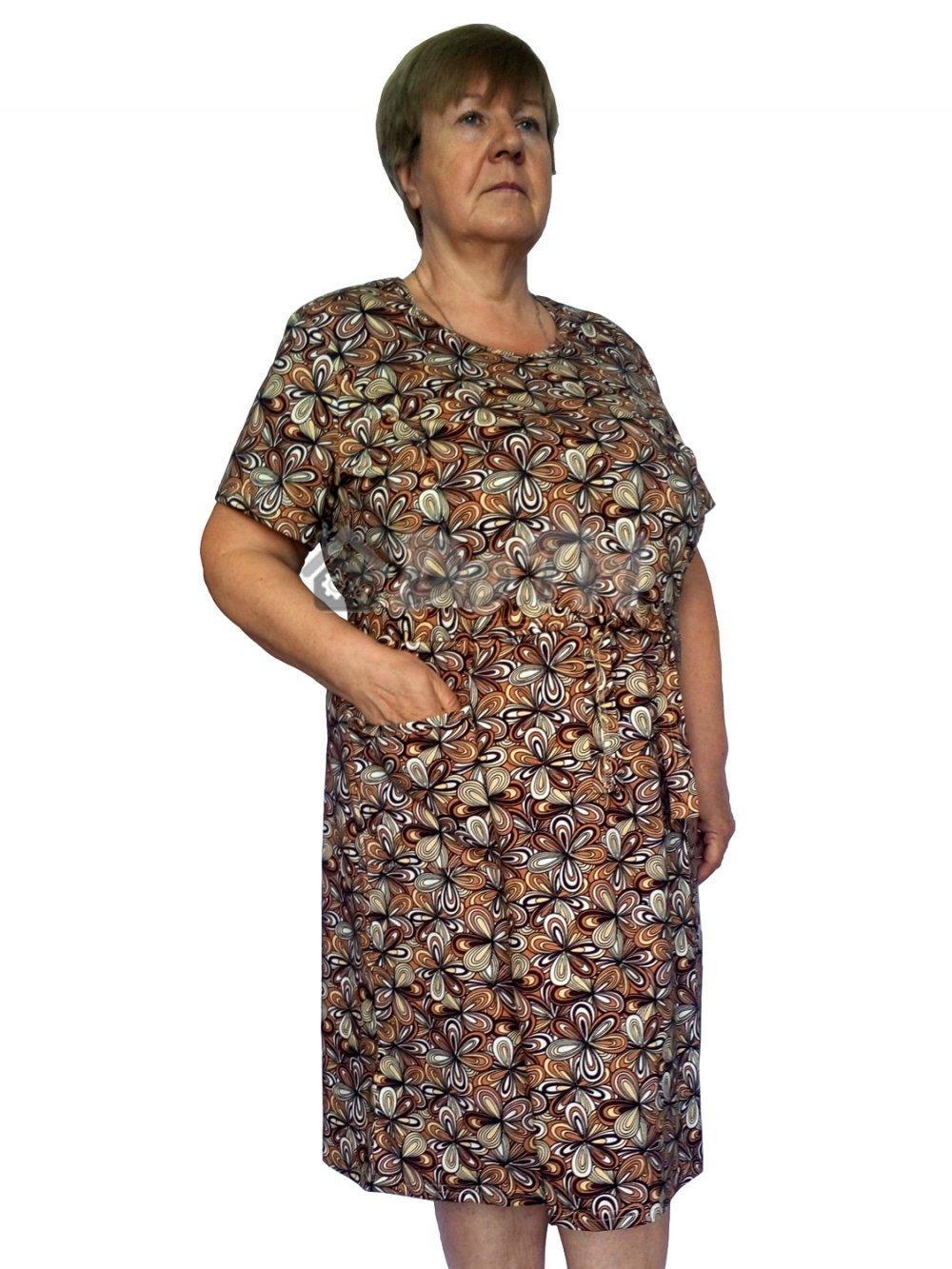 """Увеличить - Платье """"Модель №1"""" (бежевые цветы на коричневом фоне)"""