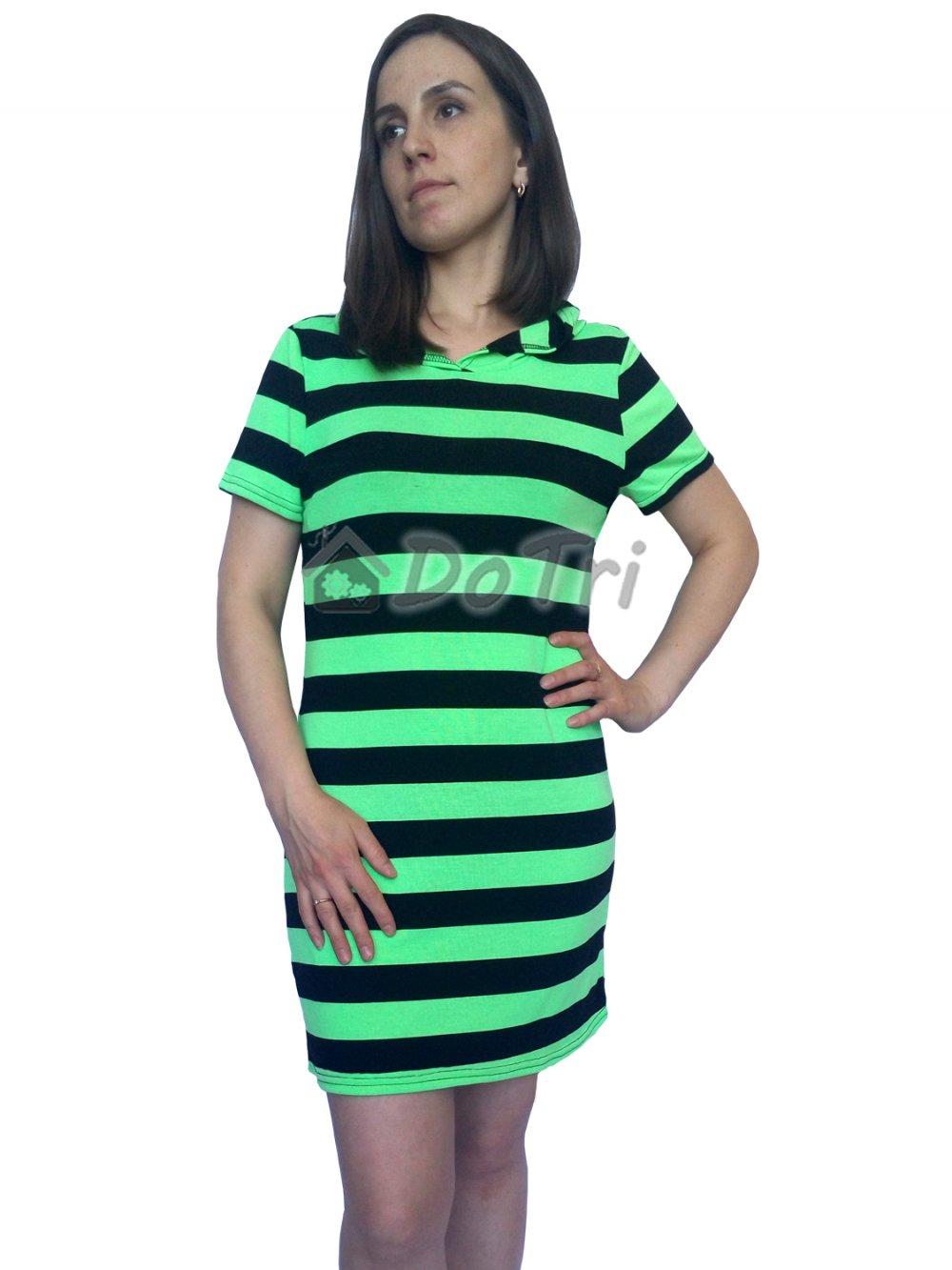 Увеличить - Платье-туника в полоску (молодая зелень)
