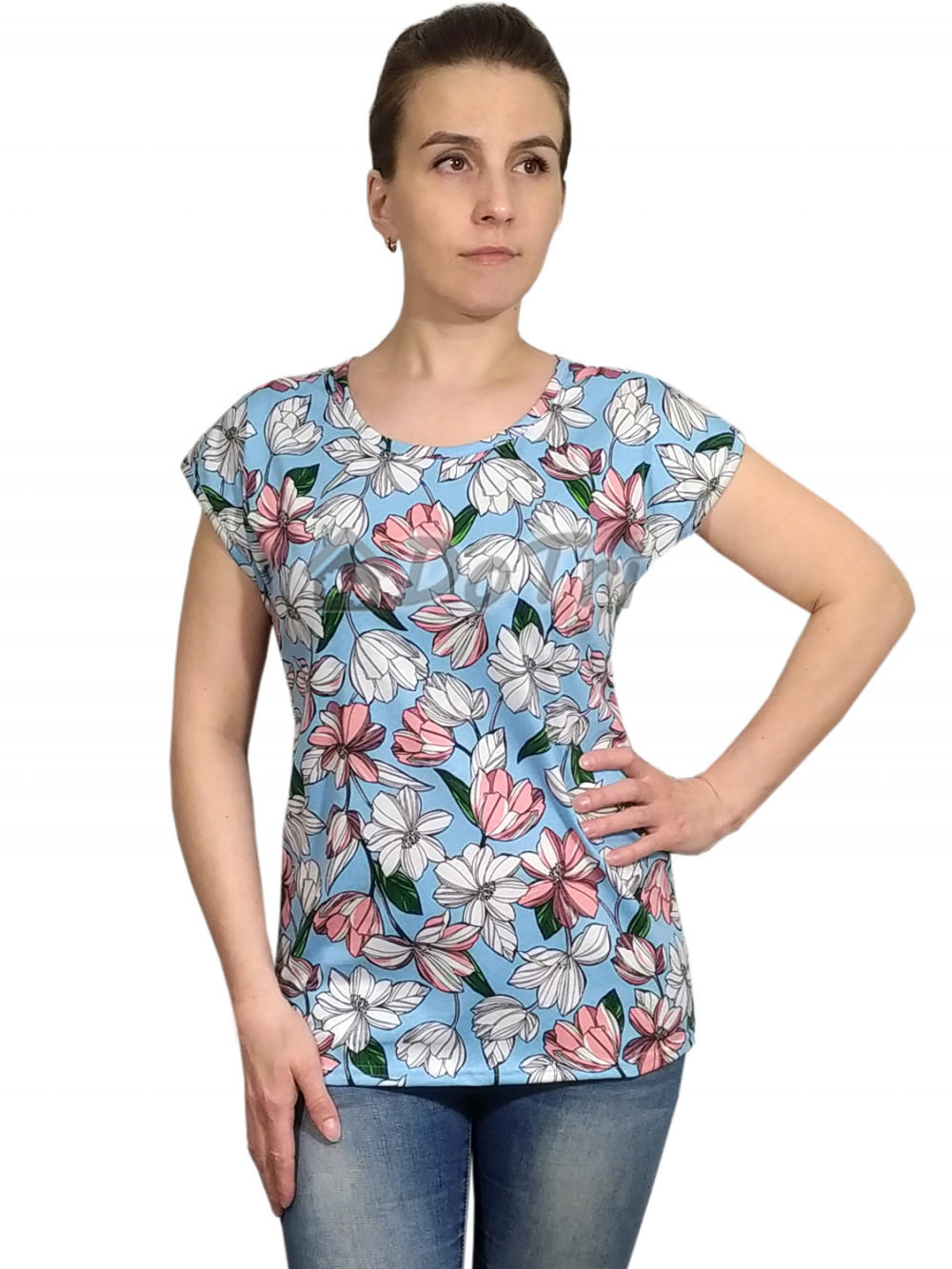 Увеличить - Блузка «Прима» арт 047 нежно голубая