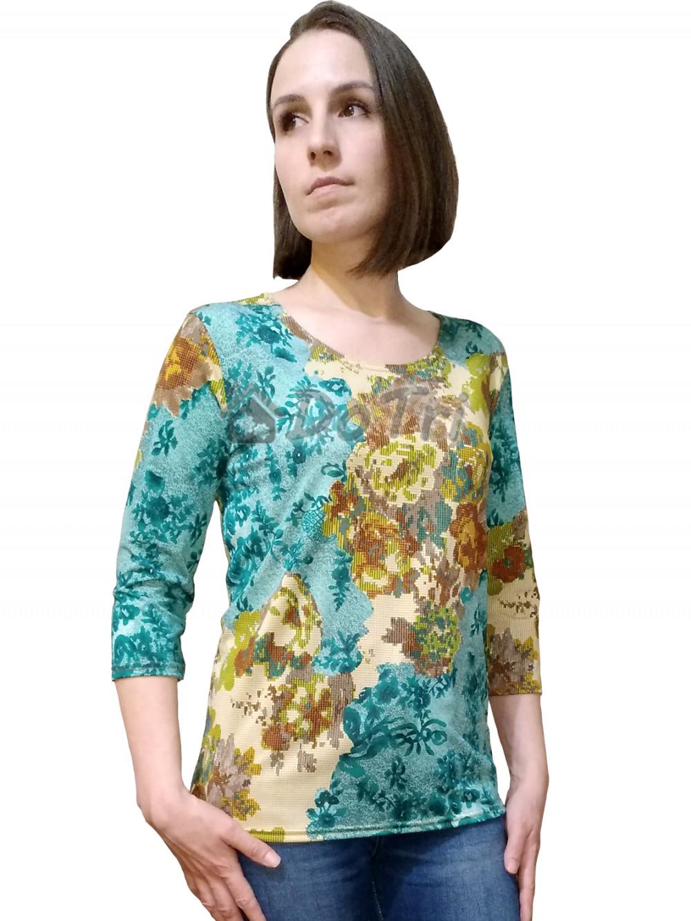 """Увеличить - Блуза """"Стрекоза"""" (масло, бежевые и зеленые пикселы)"""