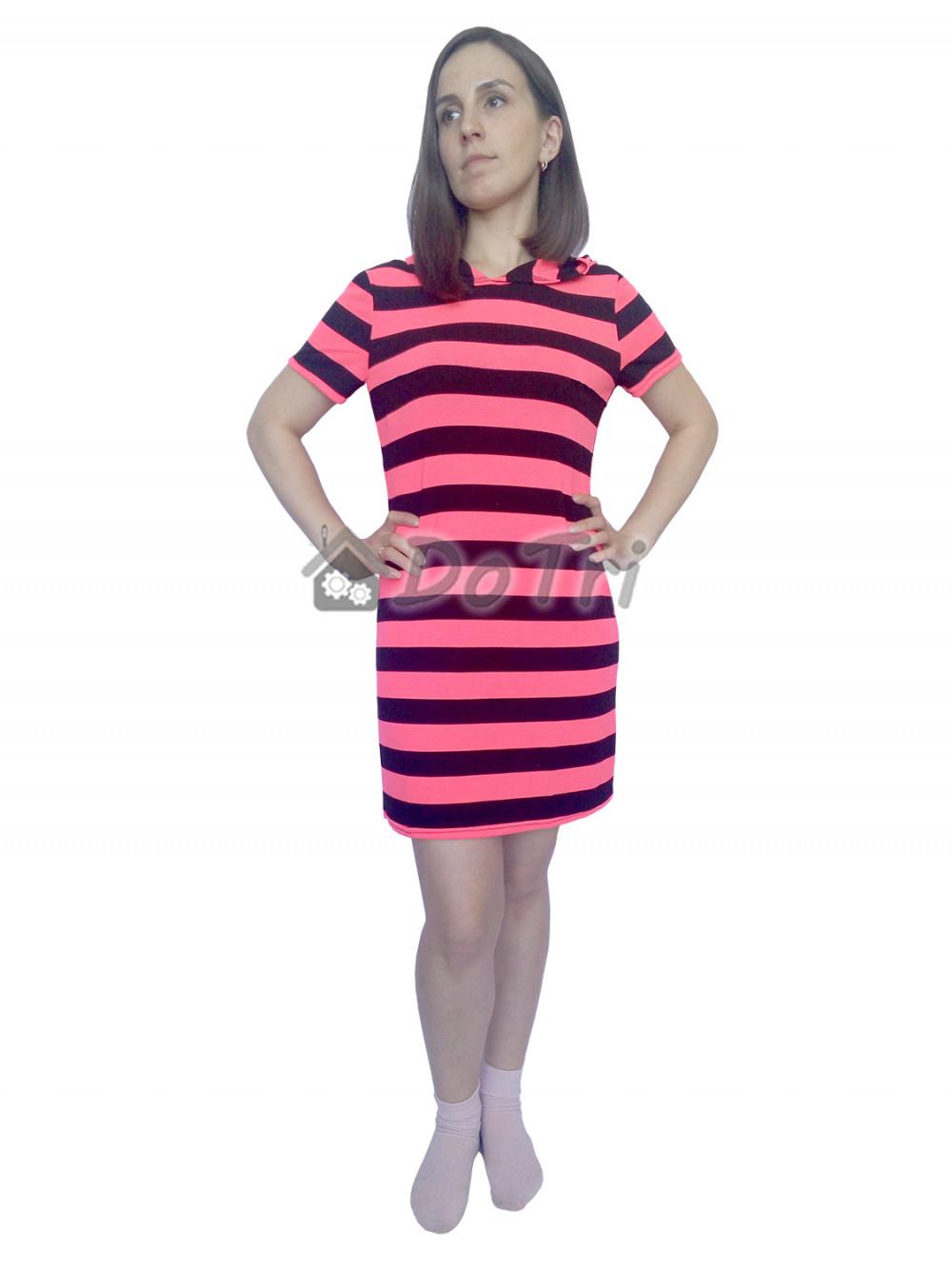 Увеличить - Платье-туника арт 009 в полоску насыщенно-коралловый
