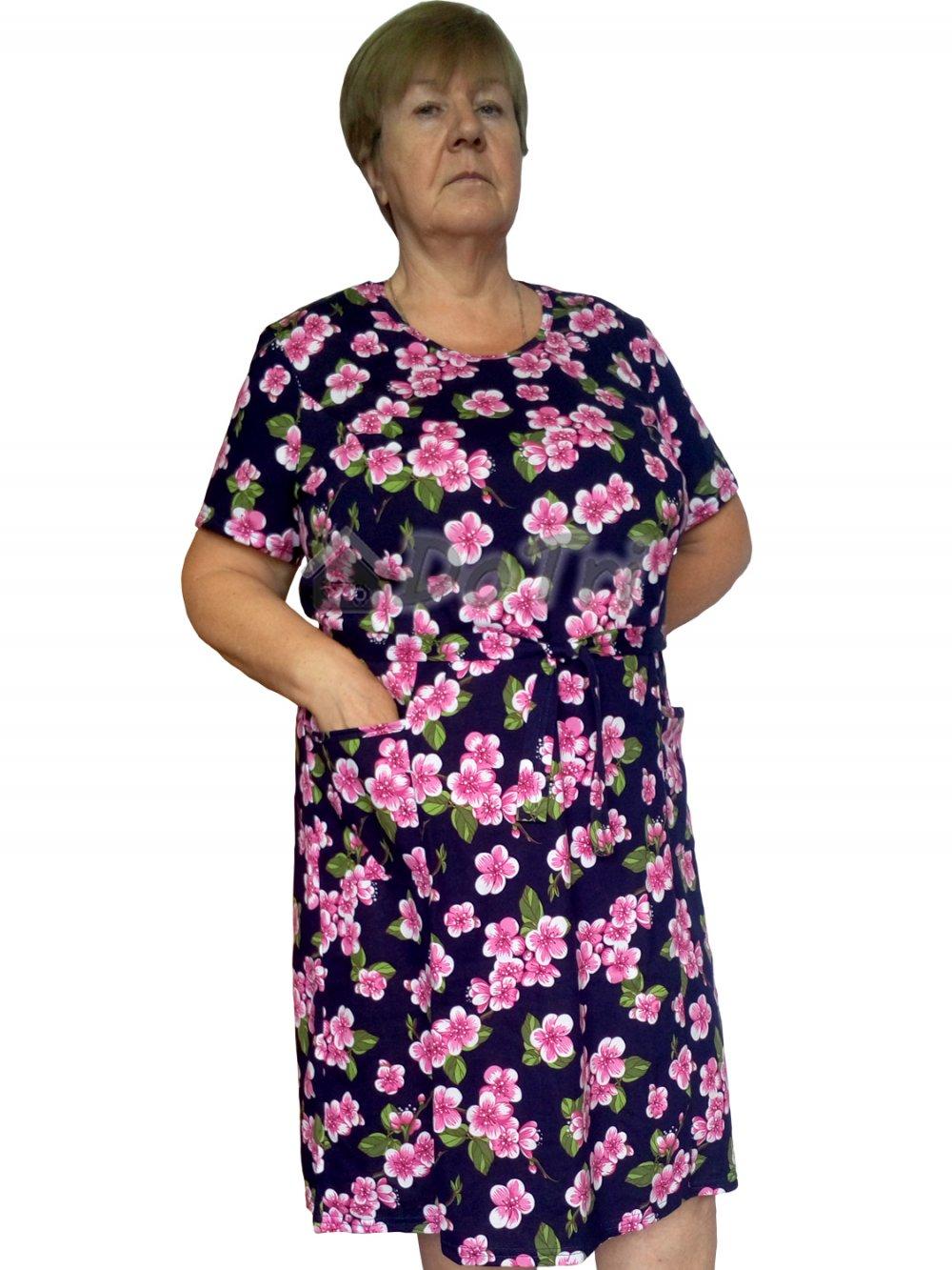 """Увеличить - Платье """"Модель №1"""" (яблоневые цветы на темно-синем фоне)"""