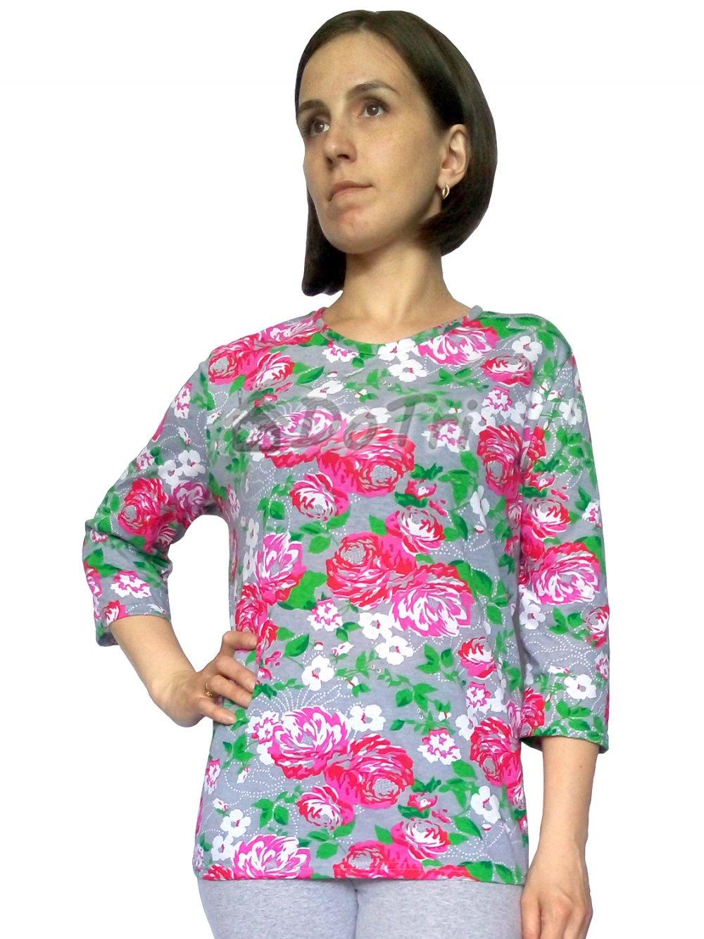 """Увеличить - Блуза """"Стрекоза"""" (кулирка, розовые цветы на сером фоне)"""