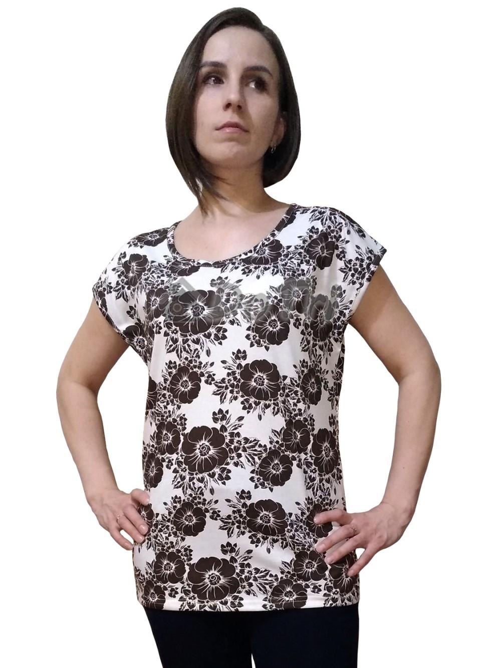 """Увеличить - Блуза """"Прима"""" (коричневые цветы на молочном фоне)"""