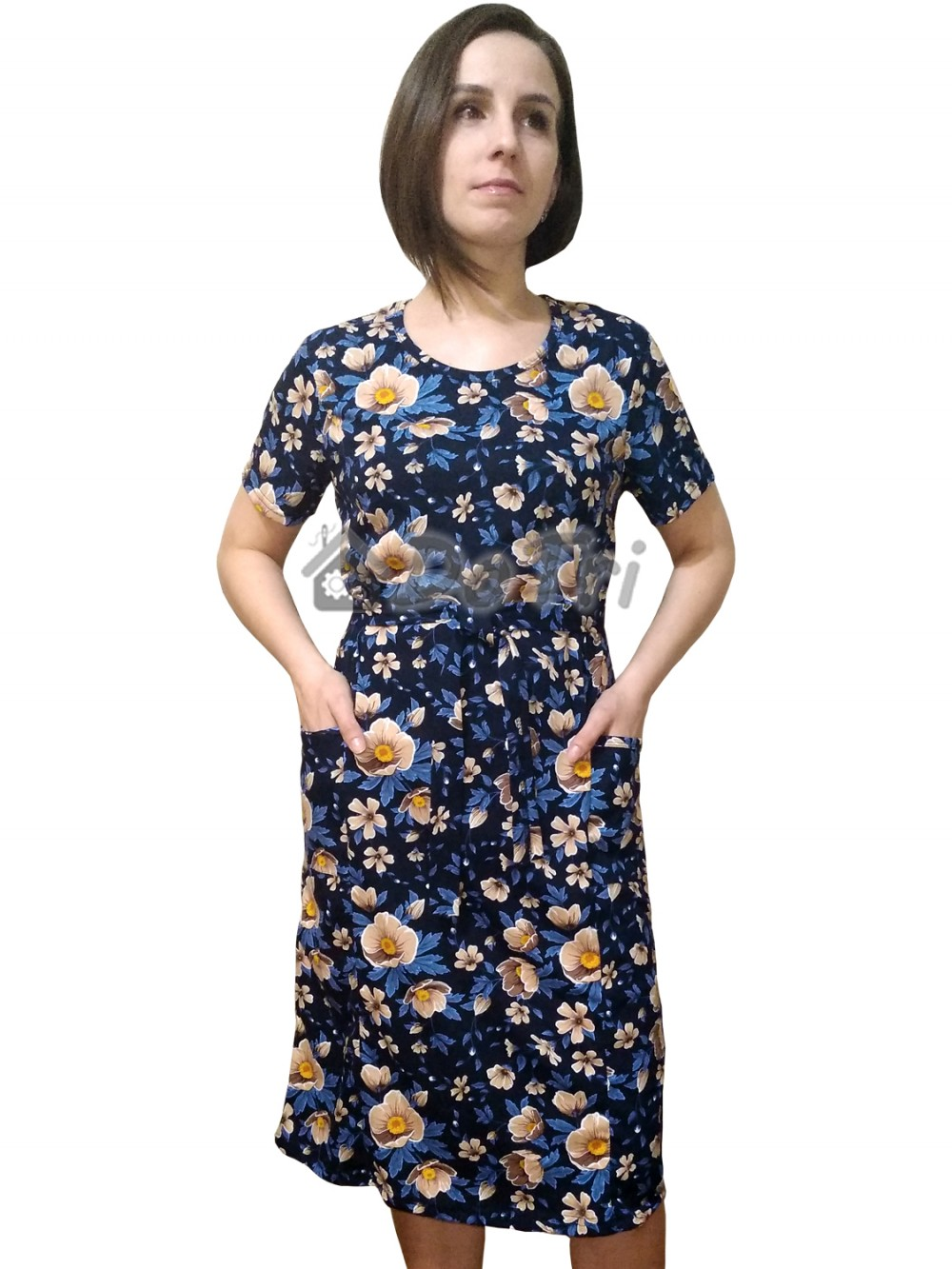 """Увеличить - Платье """"Модель №1"""" (бежевые цветы на темно-синем фоне)"""