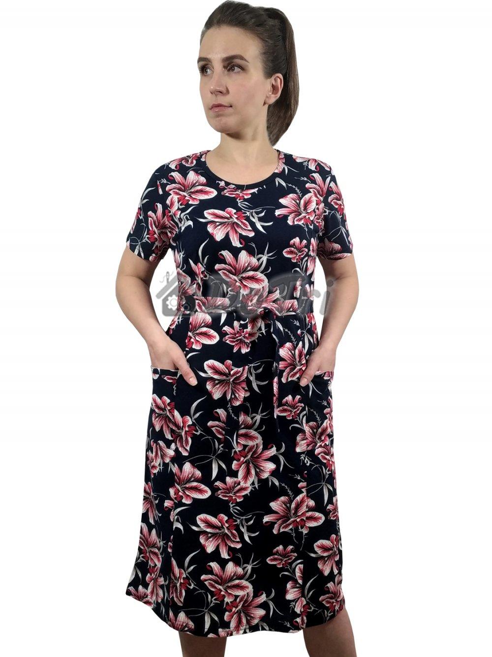 Увеличить - Платье «Модель №1» арт 006 красные лилии на темно-синем фоне