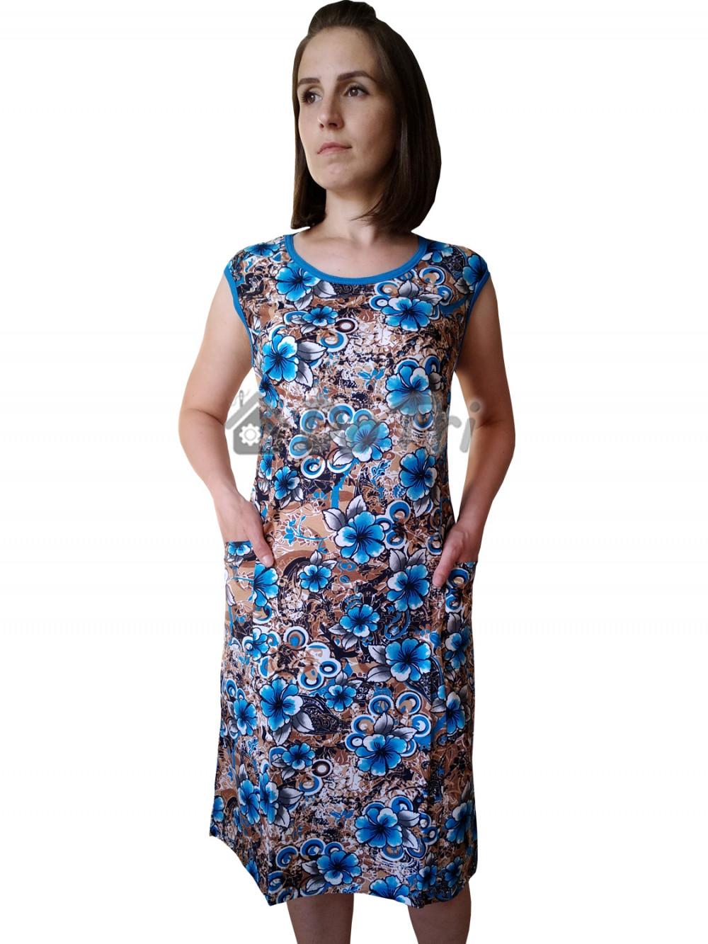 Увеличить - Платье арт 012 голубые цветы на коричневом фоне
