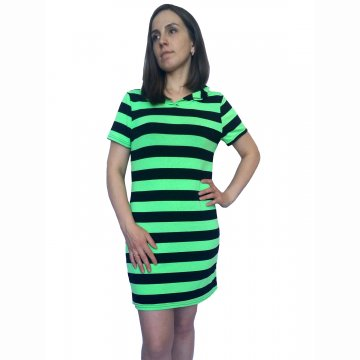 Платье-туника арт 003 в полоску молодая зелень