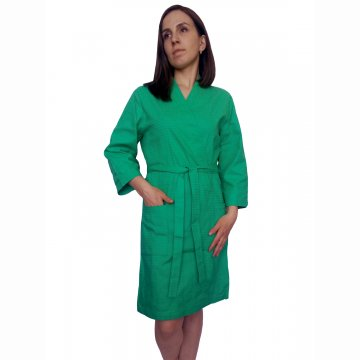 Халат на запах «Вафелька» зеленый арт 007