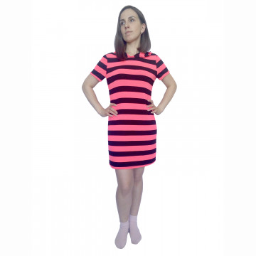 Платье-туника арт 009 в полоску насыщенно-коралловый