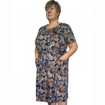 Платье «Модель №1» арт 007 огурцы на морской волне
