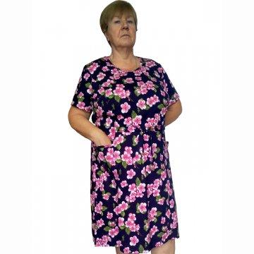 Платье «Модель №1» арт 008 яблоневые цветы на темно-синем фоне