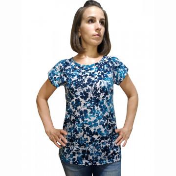 "Блуза ""Прима"" (бирюзовые цветы на меланже)"