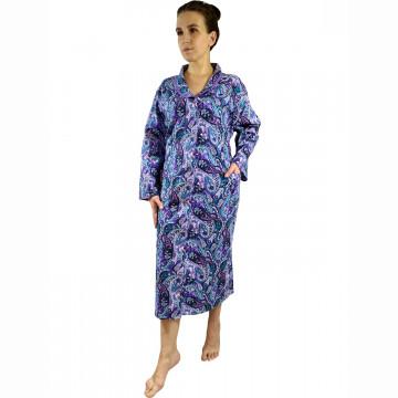 Халат фланелевый на пуговицах арт 39 фиолетовый