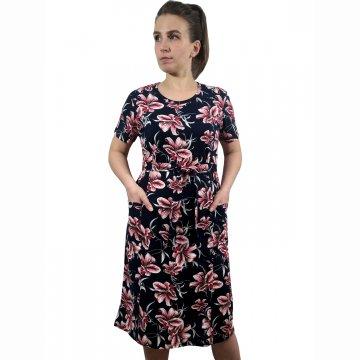 Платье «Модель №1» арт 006 красные лилии на темно-синем фоне