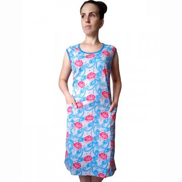 Платье арт 011 розовые цветы и вензеля, РАСПРОДАЖА