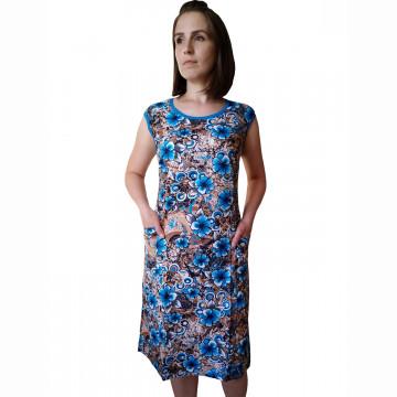 Платье арт 012 голубые цветы на коричневом фоне